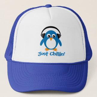 Just Chillin' Penguin With Headphones Trucker Hat