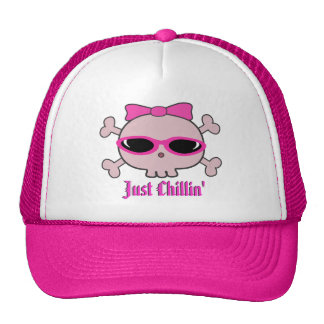 Just Chillin' Pink Cartoon Skull With Sunglasses Cap
