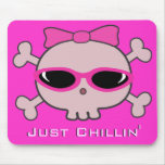 Just Chillin' Pink Cartoon Skull With Sunglasses Mousemat