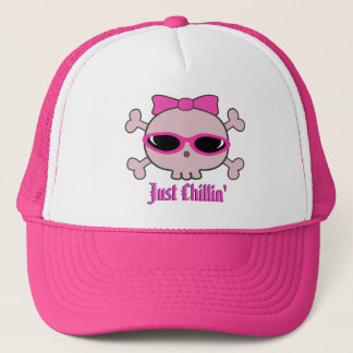 Just Chillin' Pink Cartoon Skull With Sunglasses Trucker Hat