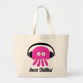 Just Chillin' Pink Jellyfish With Headphones Large Tote Bag
