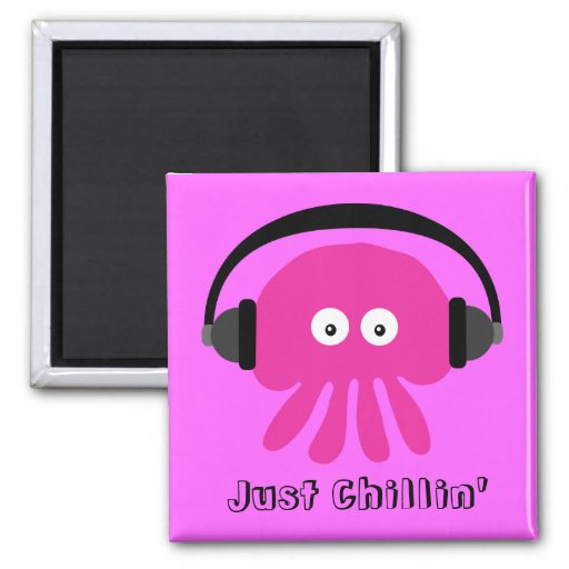 Just Chillin' Pink Jellyfish With Headphones Fridge Magnets