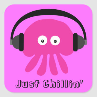 Just Chillin' Pink Jellyfish With Headphones Square Sticker