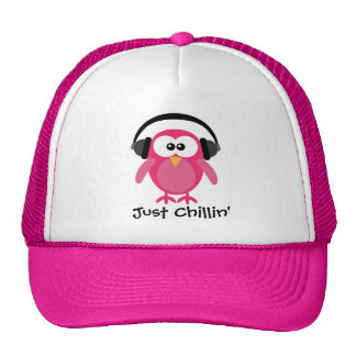 Just Chillin' Pink Owl With Headphones Cap