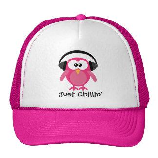 Just Chillin' Pink Owl With Headphones Trucker Hat