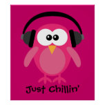 Just Chillin' Pink Owl With Headphones Print