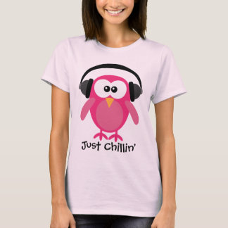 Just Chillin' Pink Owl With Headphones T-Shirt