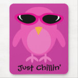 Just Chillin' Pink Owl With Sunglasses Mouse Mat