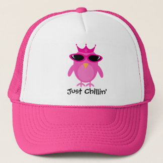 Just Chillin' Pink Princess Owl With Shades Trucker Hat