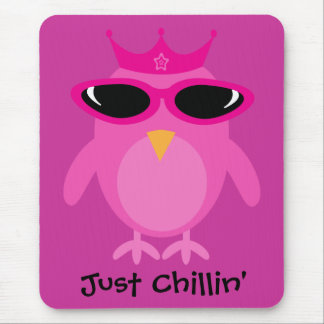 Just Chillin' Pink Princess Owl With Sunglasses Mouse Pad