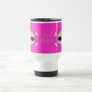 Just Chillin' Pink Skulls With Sunglasses Stainless Steel Travel Mug