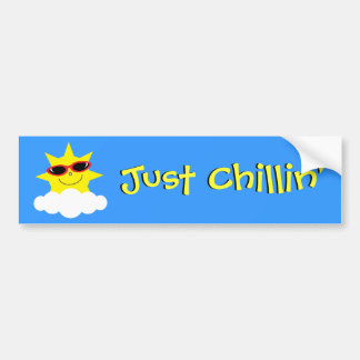 Just Chillin' Sun With Sunglasses Bumper Sticker