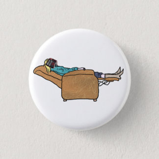 Just Chilling Out Reading Funny Collage Art 3 Cm Round Badge