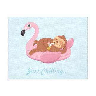 Just Chilling Sloth Pink Flamingo Float Room Decor
