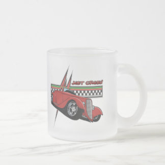 Just Cruisin Hot Rod Frosted Glass Coffee Mug