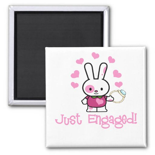 Just Engaged Cute Bunny Fridge Magnets