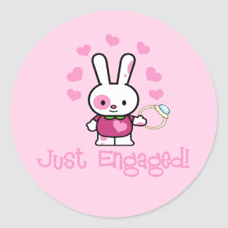 Just Engaged Cute Bunny Round Sticker