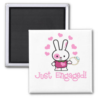 Just Engaged Cute Bunny Square Magnet