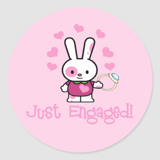 Just Engaged Cute Bunny Sticker