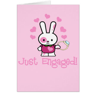 Just Engaged Cute Bunny w/Ring! Greeting Card