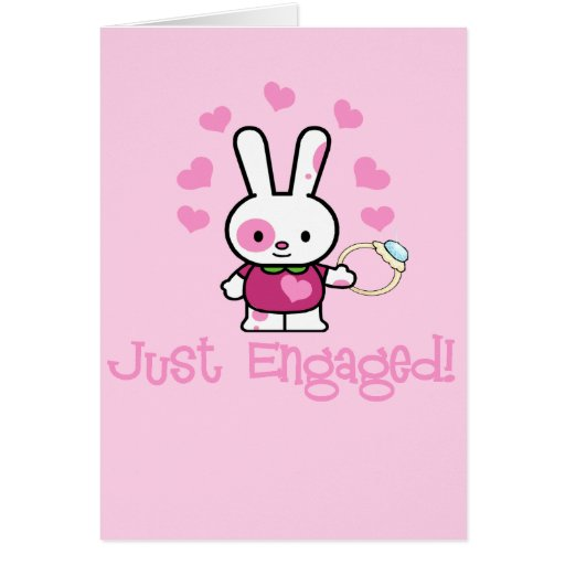 Just Engaged Cute Bunny w/Ring! Cards