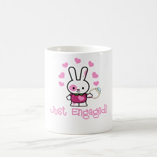 Just Engaged Cute Bunny w/Ring! Mugs