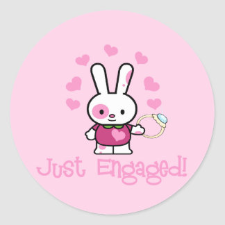 Just Engaged Cute Bunny w/Ring! Round Sticker