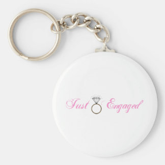 Just Engaged (Diamond Engagement Ring) Basic Round Button Key Ring