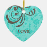 Just Engaged First Christmas Blue Heart Swirl Ceramic Heart Decoration