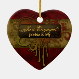 Just Engaged First Christmas Grunge Red Gold Heart Ceramic Heart Decoration