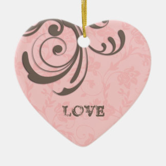 Just Engaged First Christmas Pink Heart Swirl Ceramic Heart Decoration
