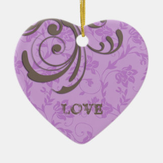 Just Engaged First Christmas Purple Heart Swirl Ceramic Heart Decoration