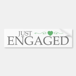 Just Engaged (Green Heart Scroll) Bumper Sticker