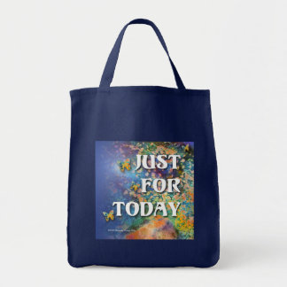 Just for Today Flowers and Rocks Grocery Tote Bag