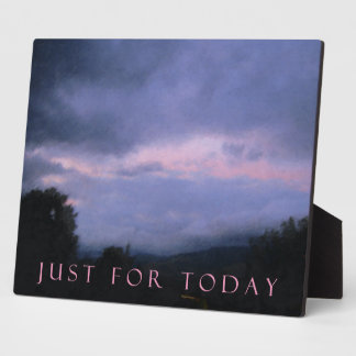 Just For Today Pink Clouds Plaque