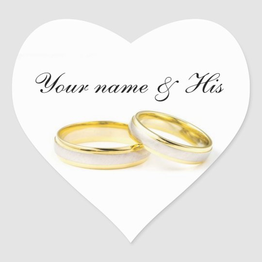 Just For You Two Rings Wedding Heart Sticker