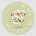 Just For You Wedding Favour Labels Round Sticker