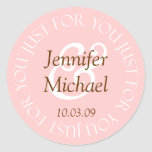 Just For You Wedding Favour Labels Round Stickers