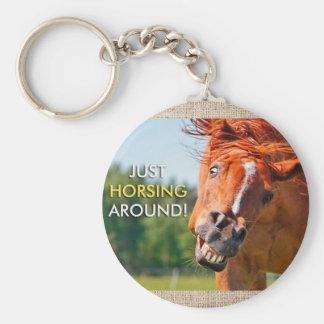Just Horsing Around Horse Photograph Basic Round Button Key Ring