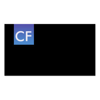Just initials in front blue hue business card