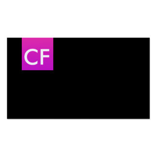 Just initials in front pink business card