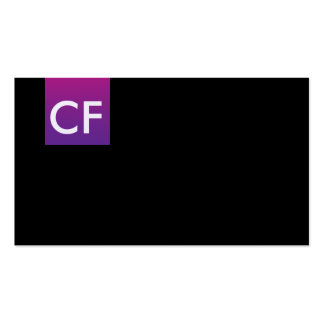 Just initials in front purple hue business card