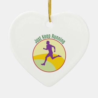 Just Keep Running Ceramic Heart Decoration