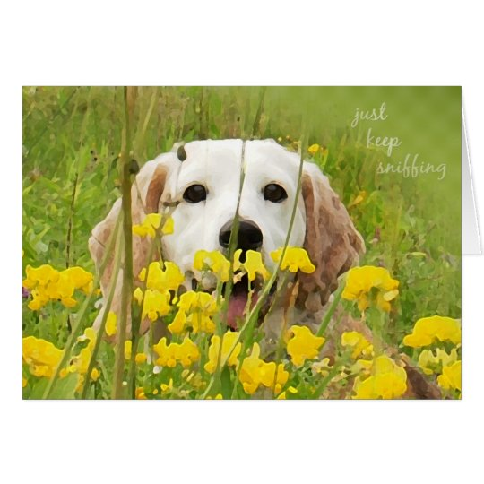 just keep sniffing beagle peeking in wildflowers card