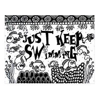 Just Keep Swimming postcards - Spoonie