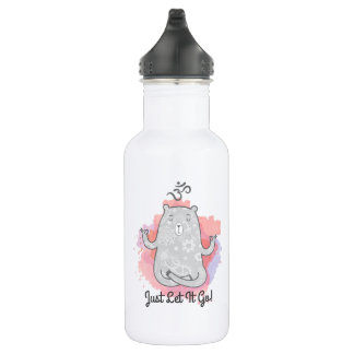 Just Let It Go Yoga Bear | Water Bottle