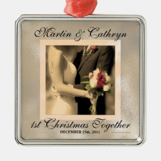 Just Married 1st Christmas Custom Year Christmas Ornaments
