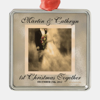 Just Married 1st Christmas Custom Year Silver-Colored Square Decoration