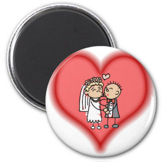just married 6 cm round magnet