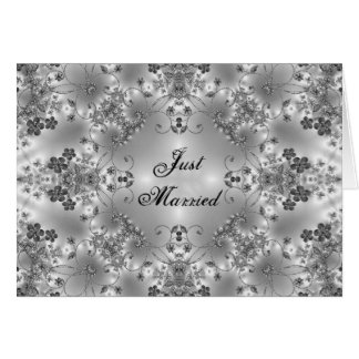 Just Married Announcement Floral B/W Greeting Card